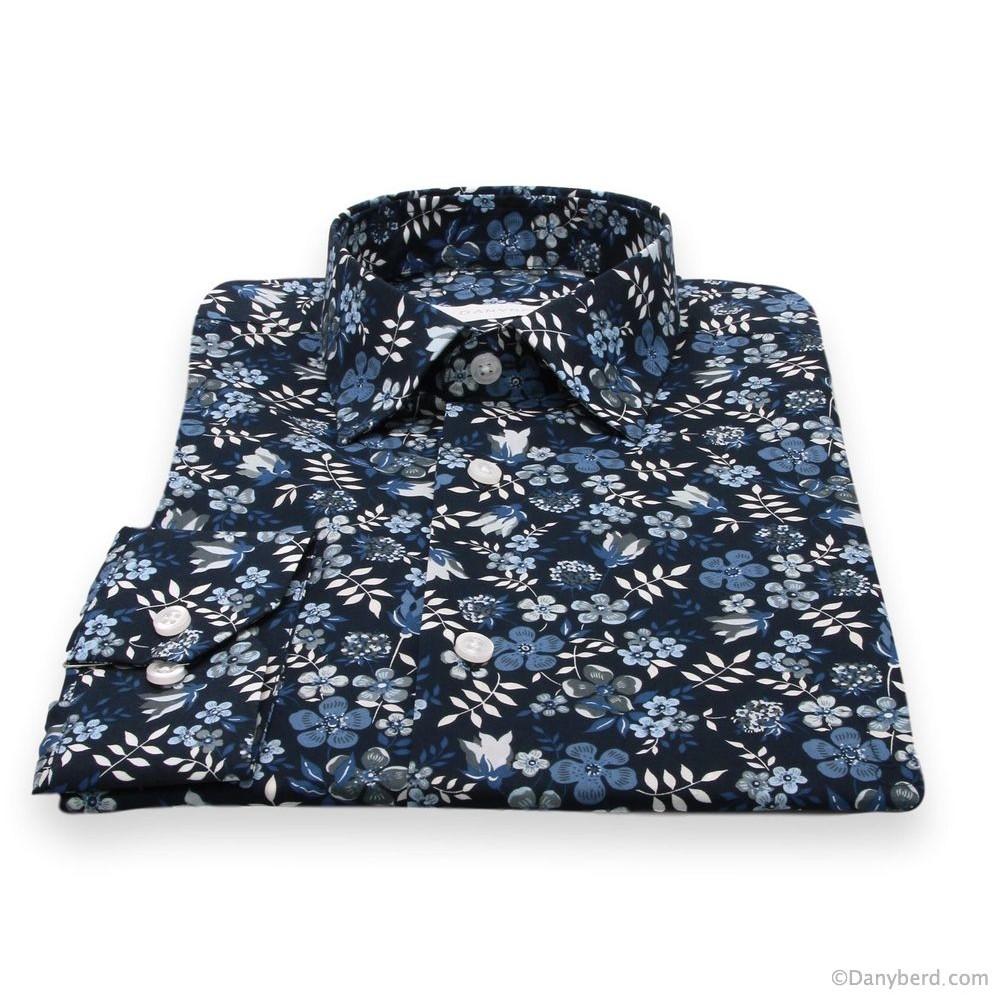 Chemise Summer : Base bleue et motifs fleurs (Default)