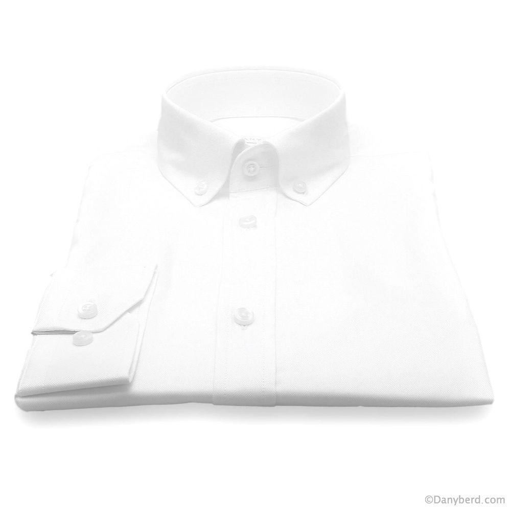 Chemise British : Pinpoint Blanc - Slim-Cut - Col Boutonné (chemise)
