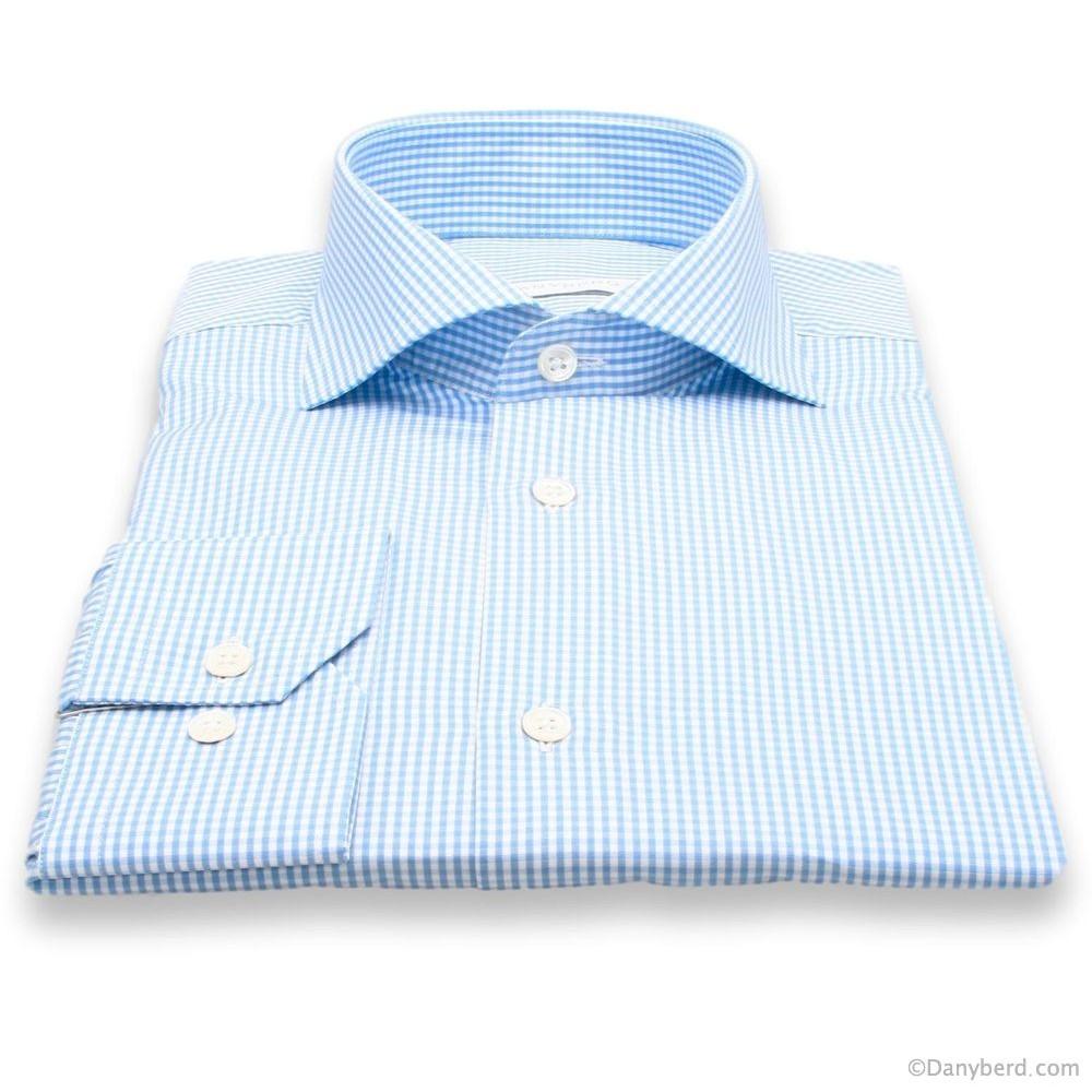 Chemise Cairo : Vichy Bleu et Blanc - Slim-Cut - Col Italien (chemise)