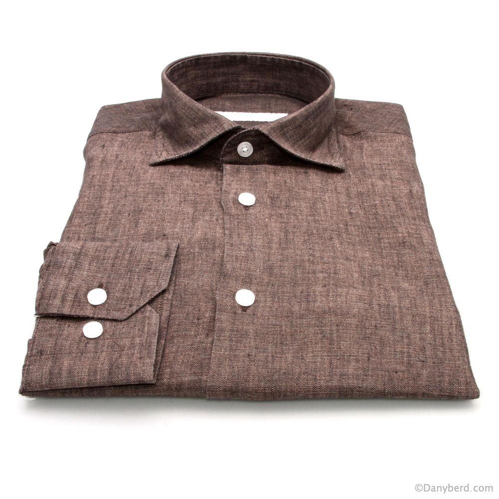 Chemise Lin : Marron - Slim-Cut - Col Français (chemises)
