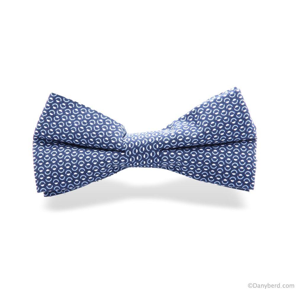 Nœud Papillon : Bleu Marine - Motifs Blancs (Default)