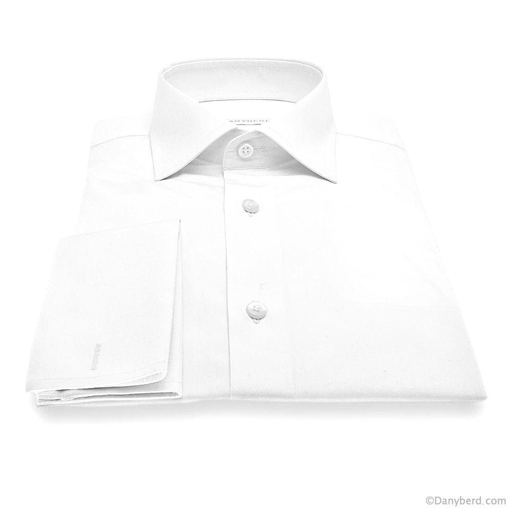 Chemise Athos : Blanche - Slim-Cut - Col Français Poignet Mousquetaire (Shirts)