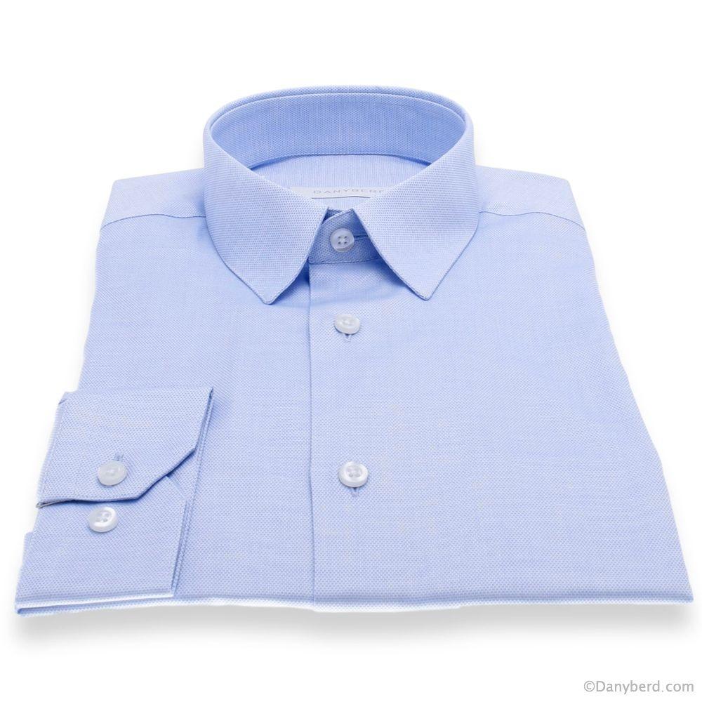 Chemise Reims : Bleue - Slim-Cut - Petit Col Français Surpiqué (Shirts)