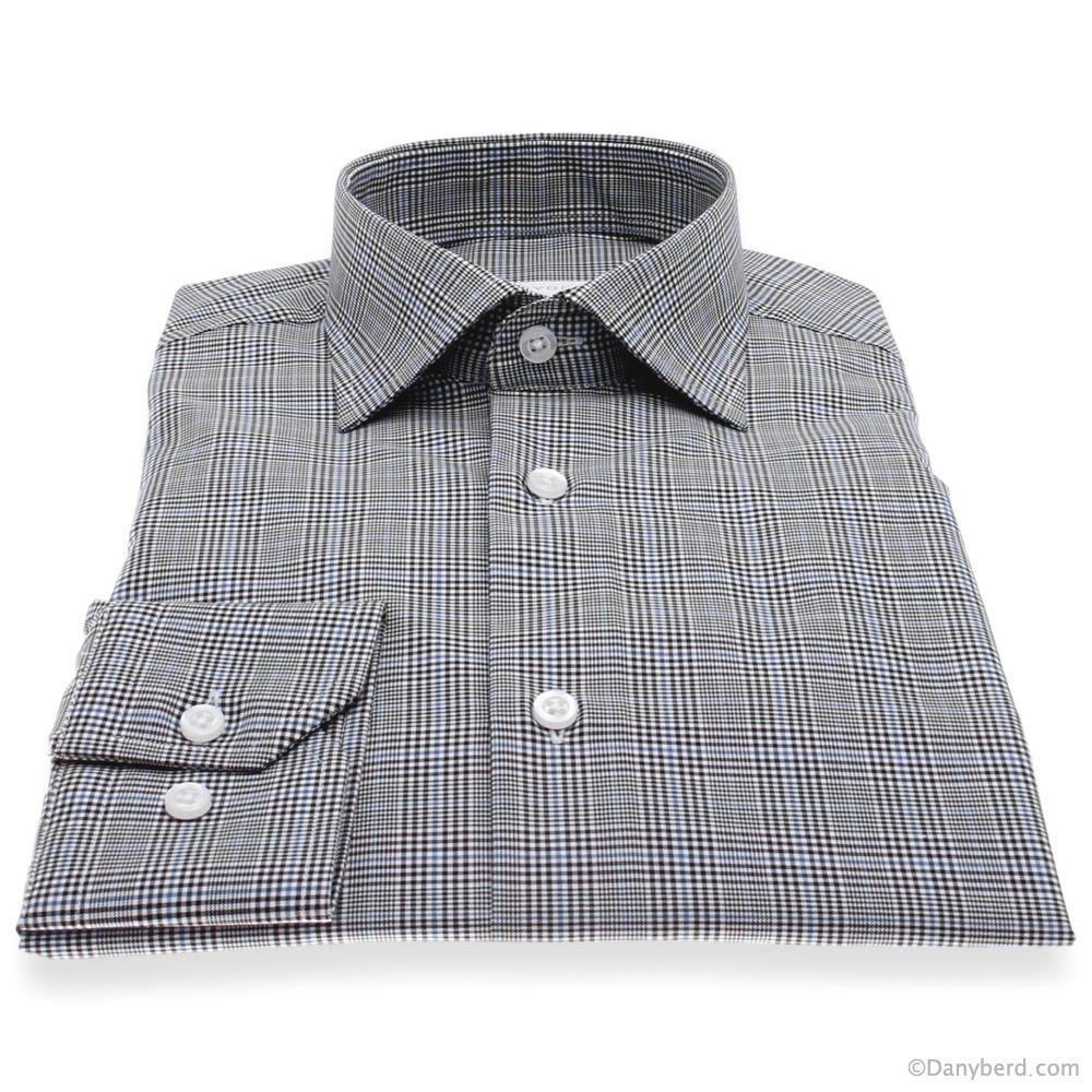 Chemise Lissandro : Carreaux gris - Slim-Cut - Col Français (Shirts)