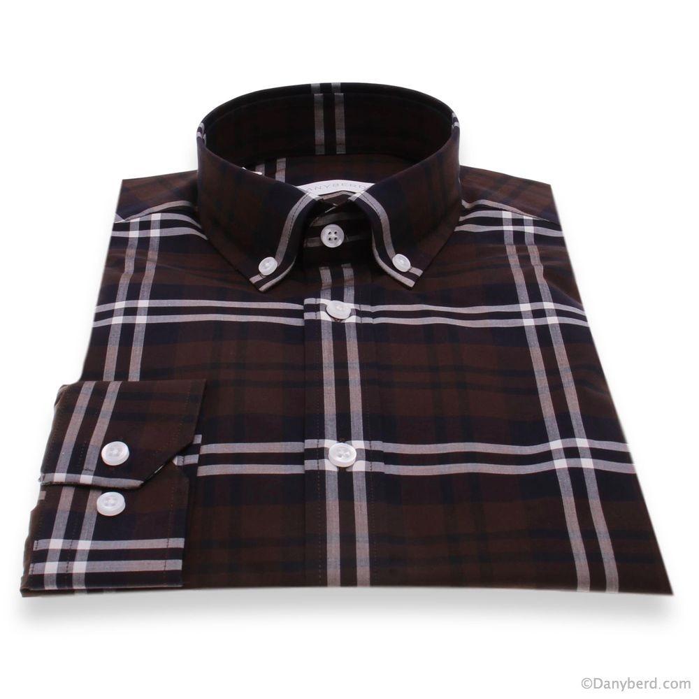Chemise Vermont : Carreaux marrons - Slim-Cut - Col boutonnés (Shirts)