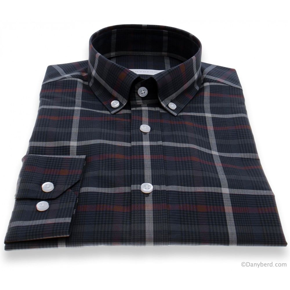hemise Olympe : Carreaux marine - Slim-Cut - Col boutonné (Shirts)