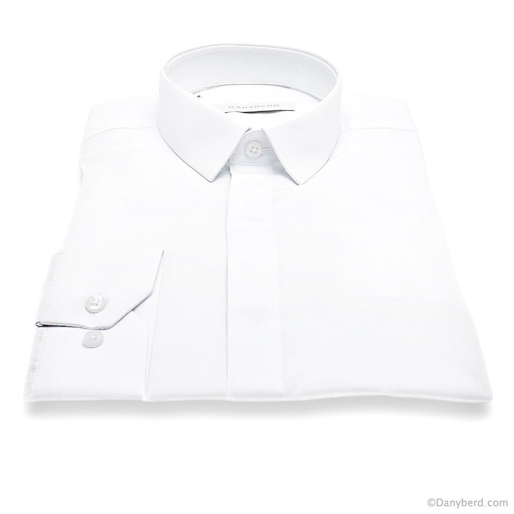 Chemise Roomy : Blanche - Slim-Cut - Micro Col Cache-Boutons (Shirts)