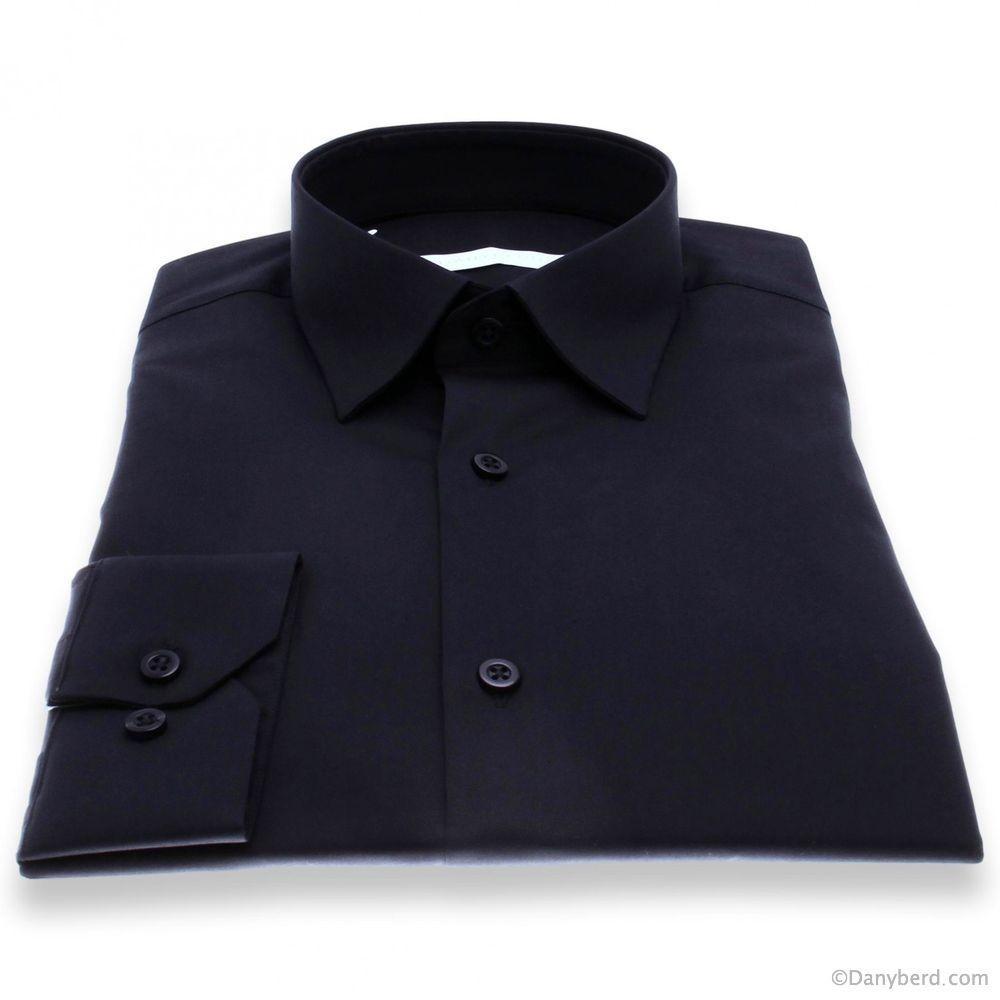 Chemise Roomy : Marine - Slim-Cut - Petit col français (Shirts)