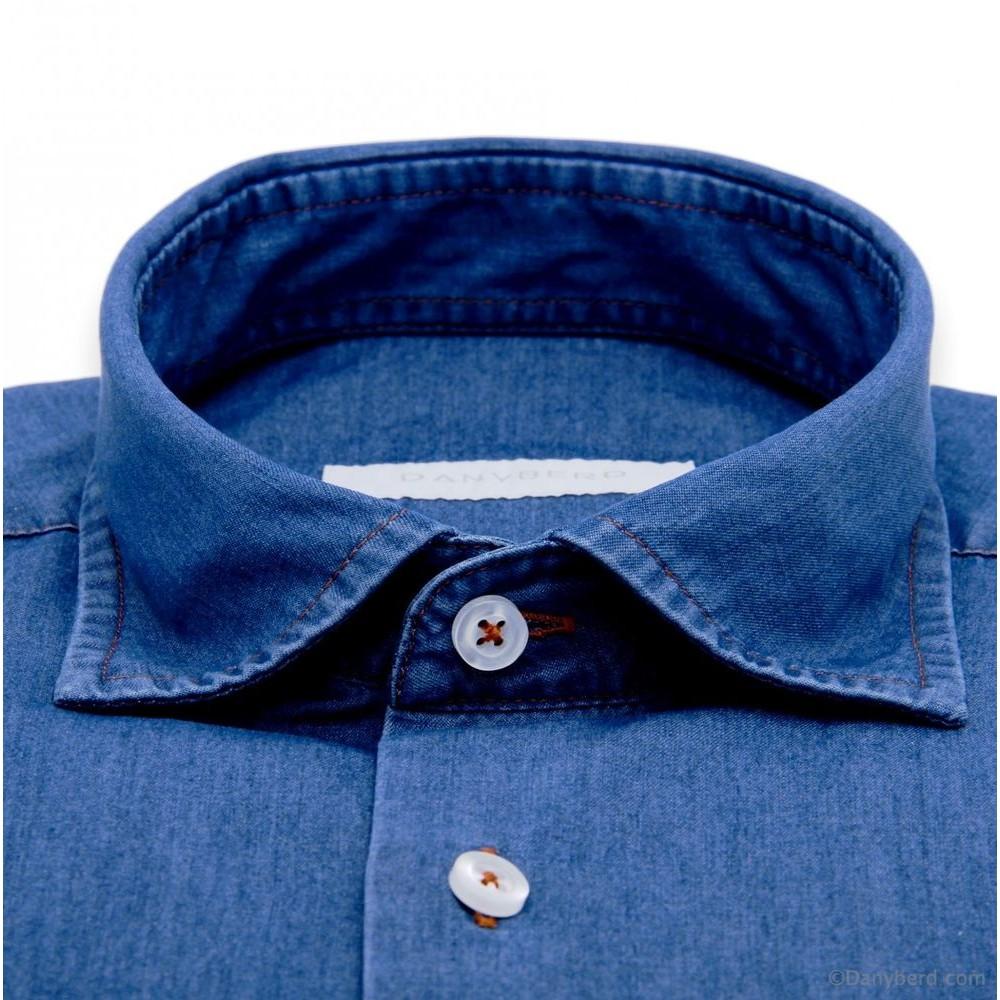 Chemise Jean : Bleue - Slim-cut - Col français (Shirts)