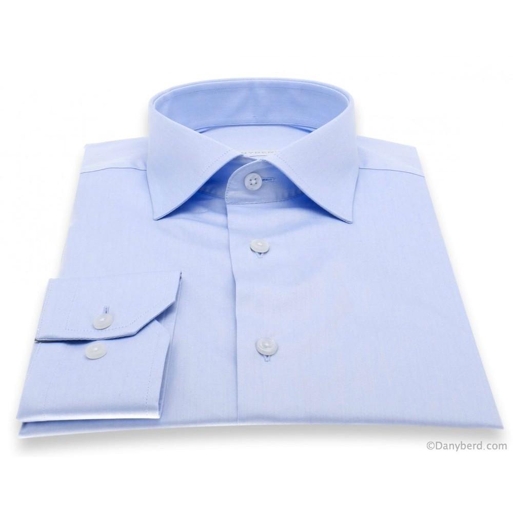 Chemise Reims : Bleue - Slim-Cut - Col Français (Shirts)