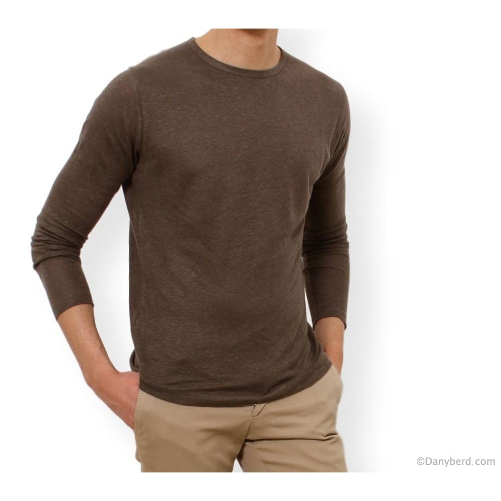 Tee-Shirt Kaki - Manches Longues - Col Rond - Lin