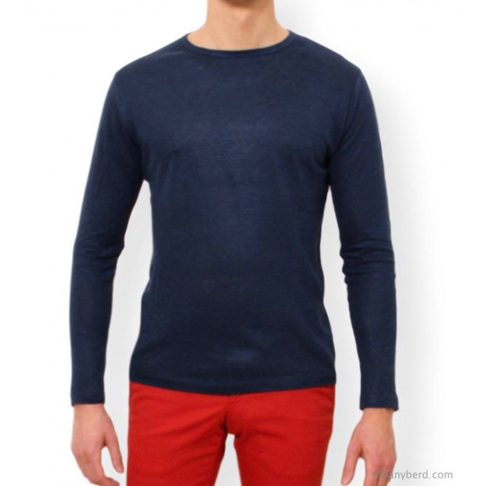 Tee-Shirt  manches longues marine en lin col rond