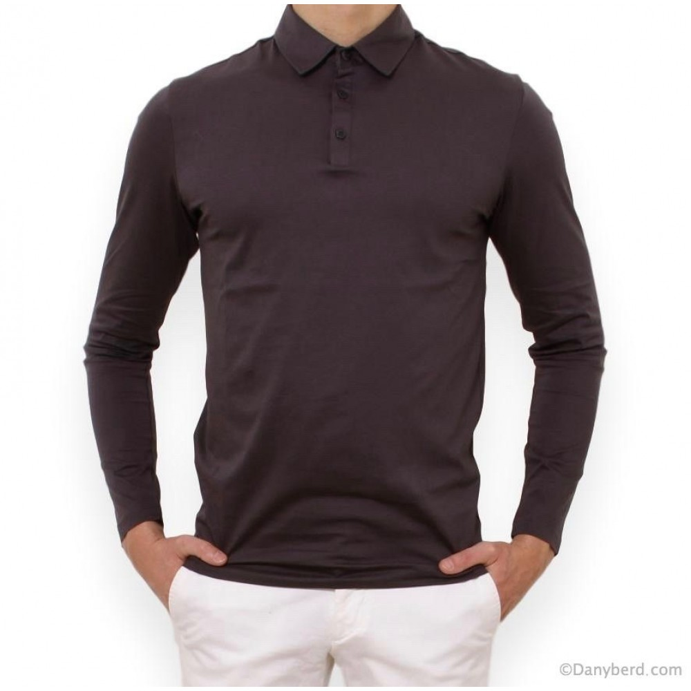 POLO GRIS ANTHRACITE MANCHES LONGUES COL BOUTON