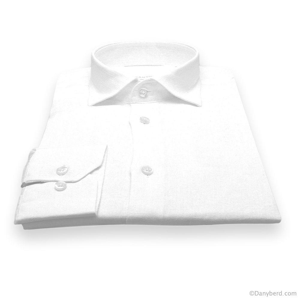 Chemise en Lin : Blanche - Slim-Cut - Col Français (chemise)