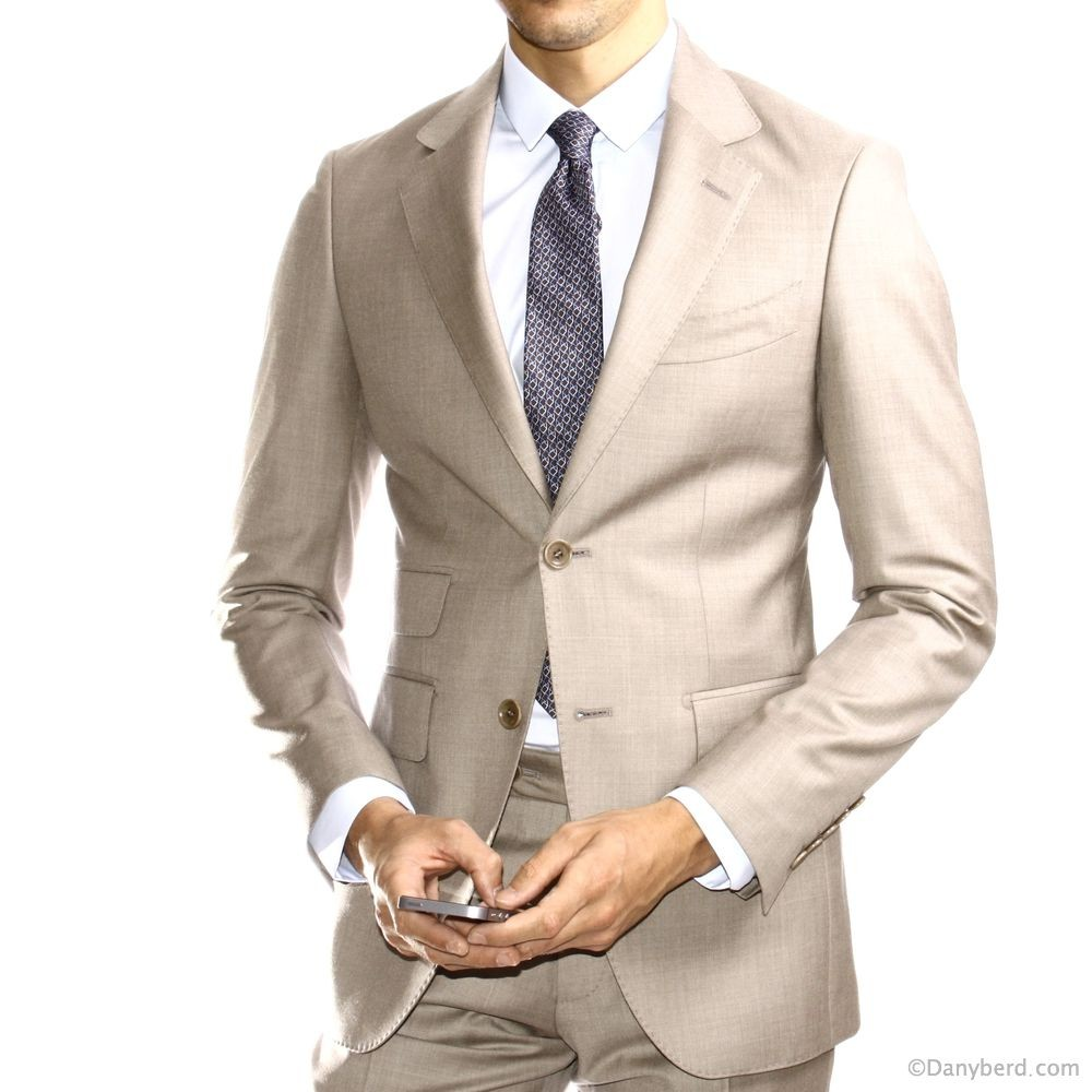 Costume Beige - Slim-Fit - Tissu Zegna Trofeo (Suits)Re