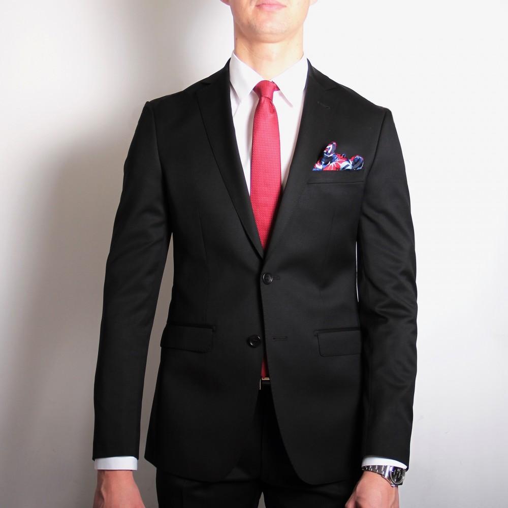 Costume Noir - Doublure bordeaux - Slim-Fit - Pure Laine - Tissu Canonico 110's (Suits)