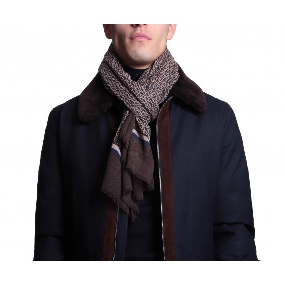 Chèche : Marron et blanc - Pure laine