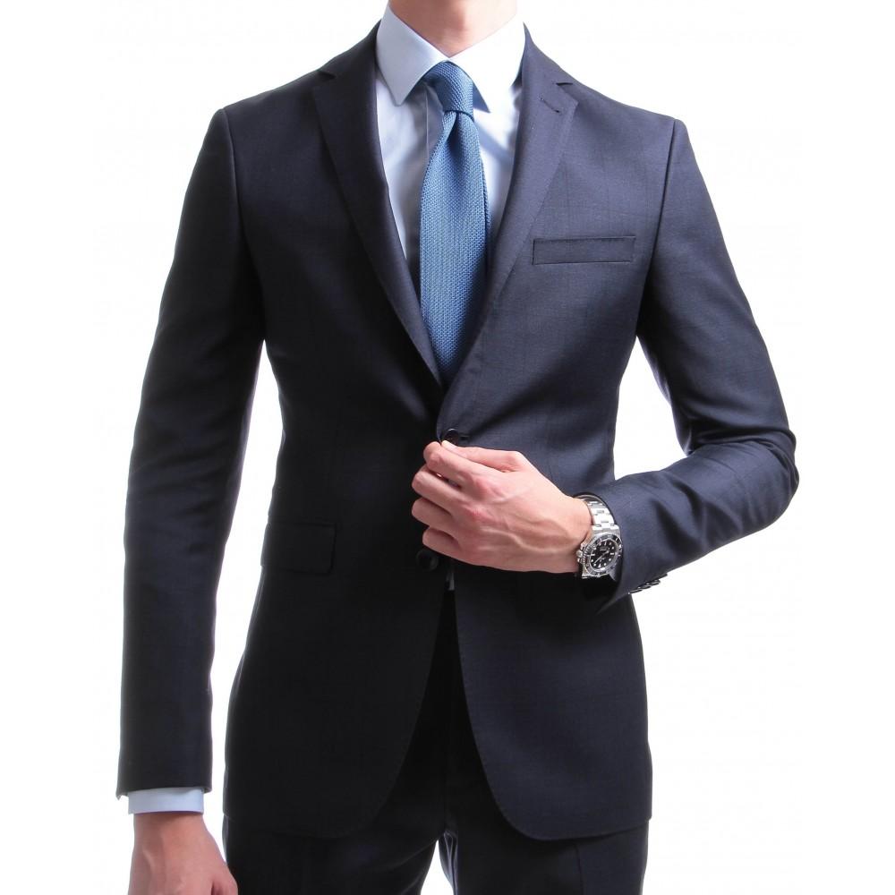 Costume : Bleu marine à carreaux fenêtres - Pure laine vierge - Vitale Barberis Canonico 110's