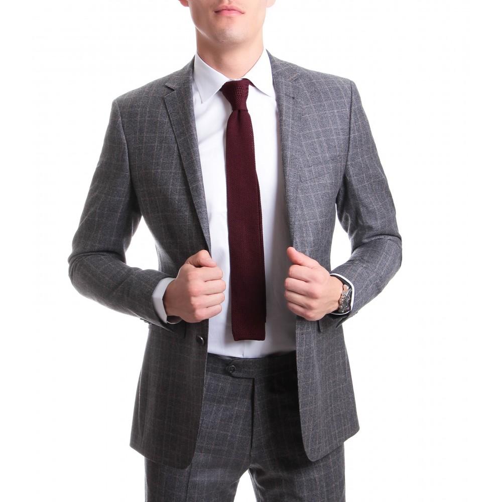 Costume Prince de galles : Base grise et motif marron - Pure laine - Tissu Reda 150's