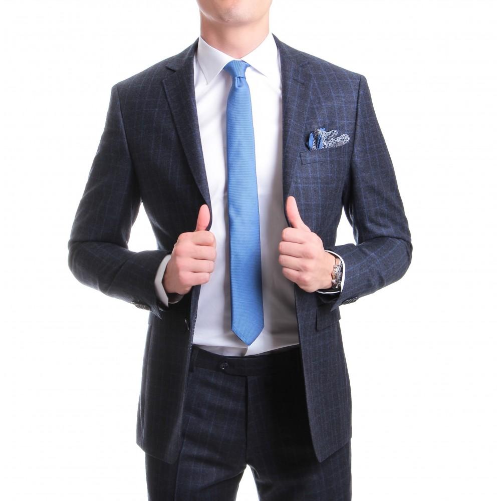 Costume Prince de Galles : Base marine et motif ciel - Pure laine vierge - Tissu Reda 150's