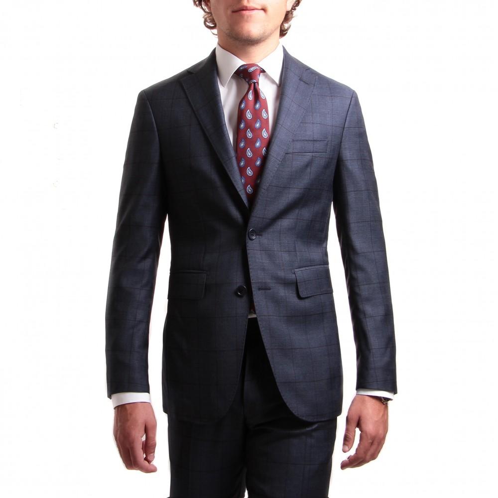 Costume : bleu à carreaux fenetres marrons - Pure laine - Tissu Canonico 110's