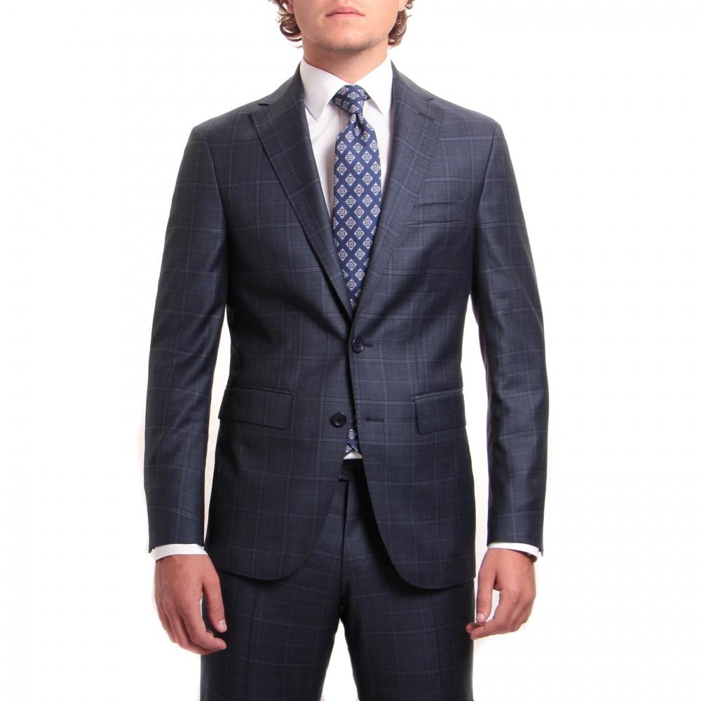 Costume : bleu à double-carreaux noirs - Pure laine - Tissu Canonico 110's