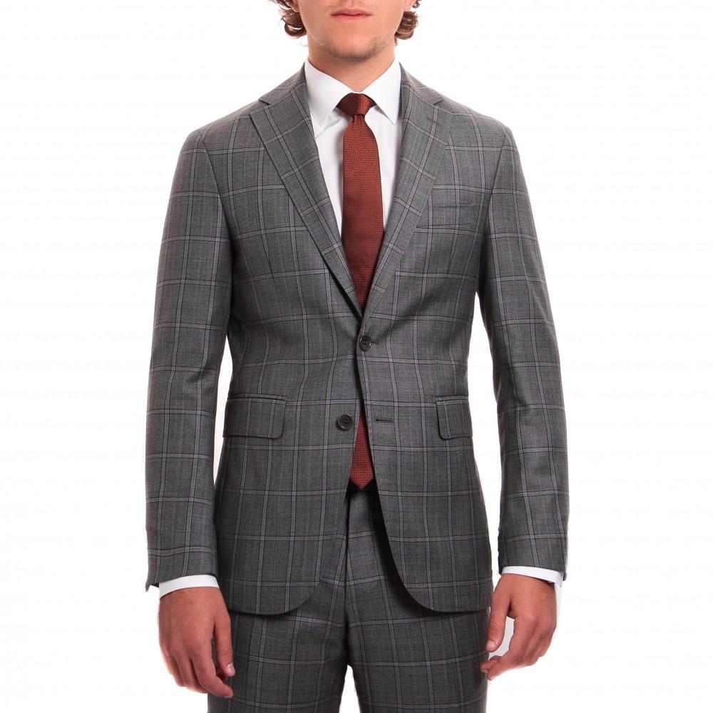 Costume : gris à double-carreaux marron - Pure laine - Tissu Canonico 110's