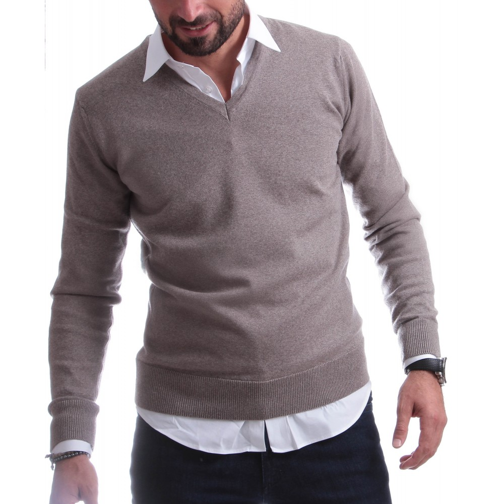 Pull Italy : Beige - Col en V - Pure laine mérinos