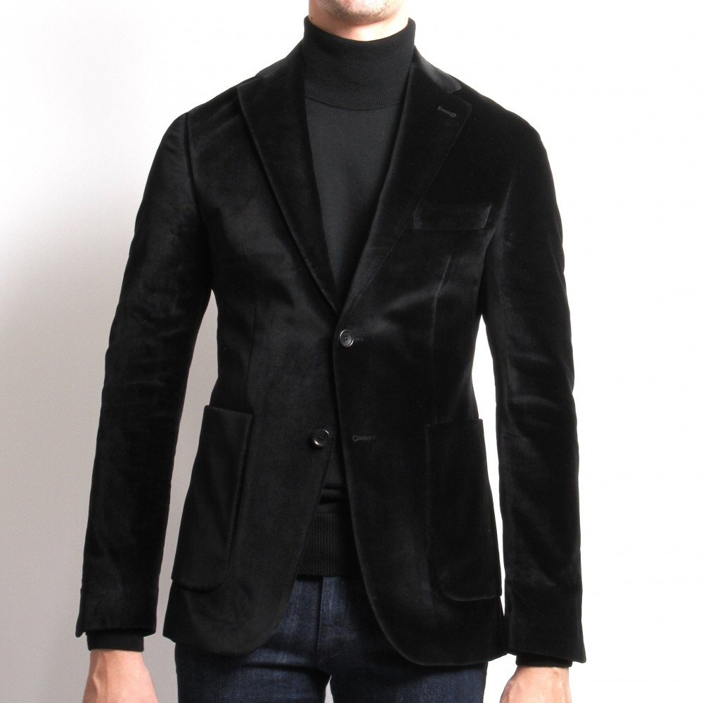 Veste velours : Noir - Tissu Pontoglio (Veste)