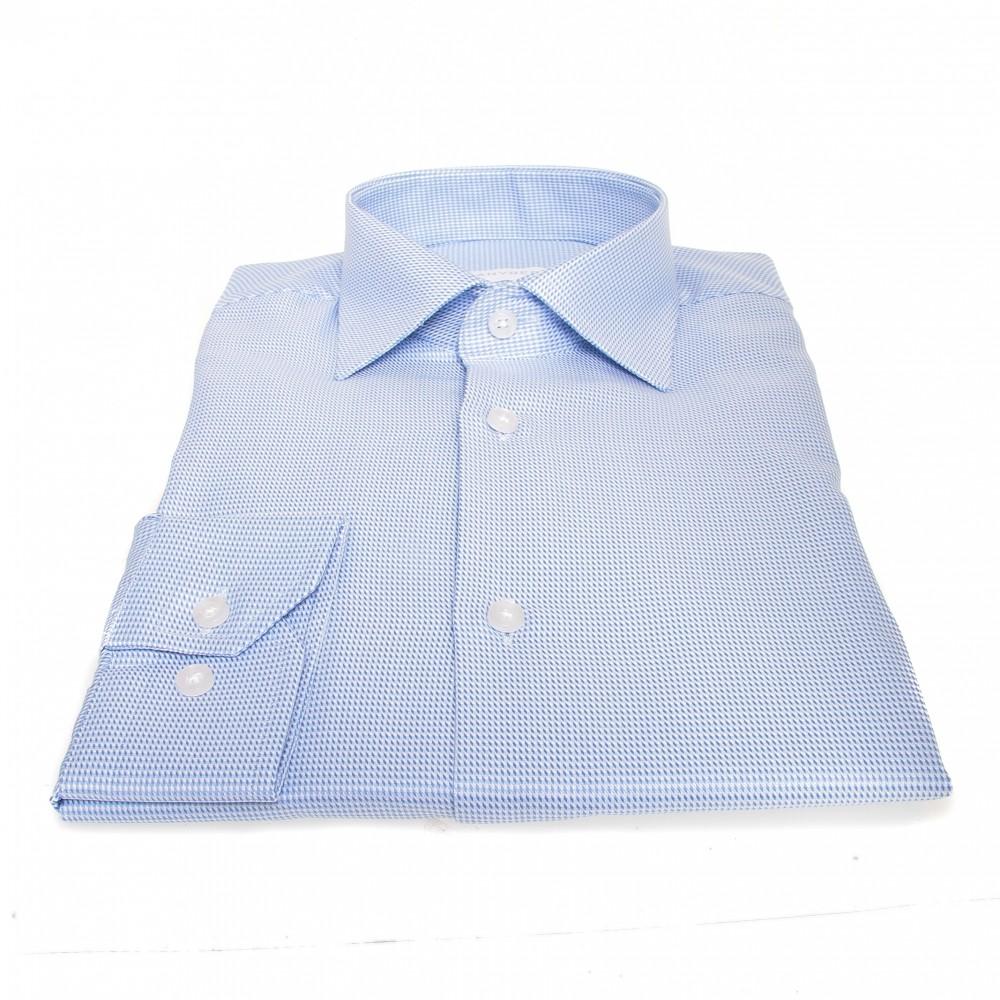 Chemise Prince : bleu et blanc - 100% coton - col français