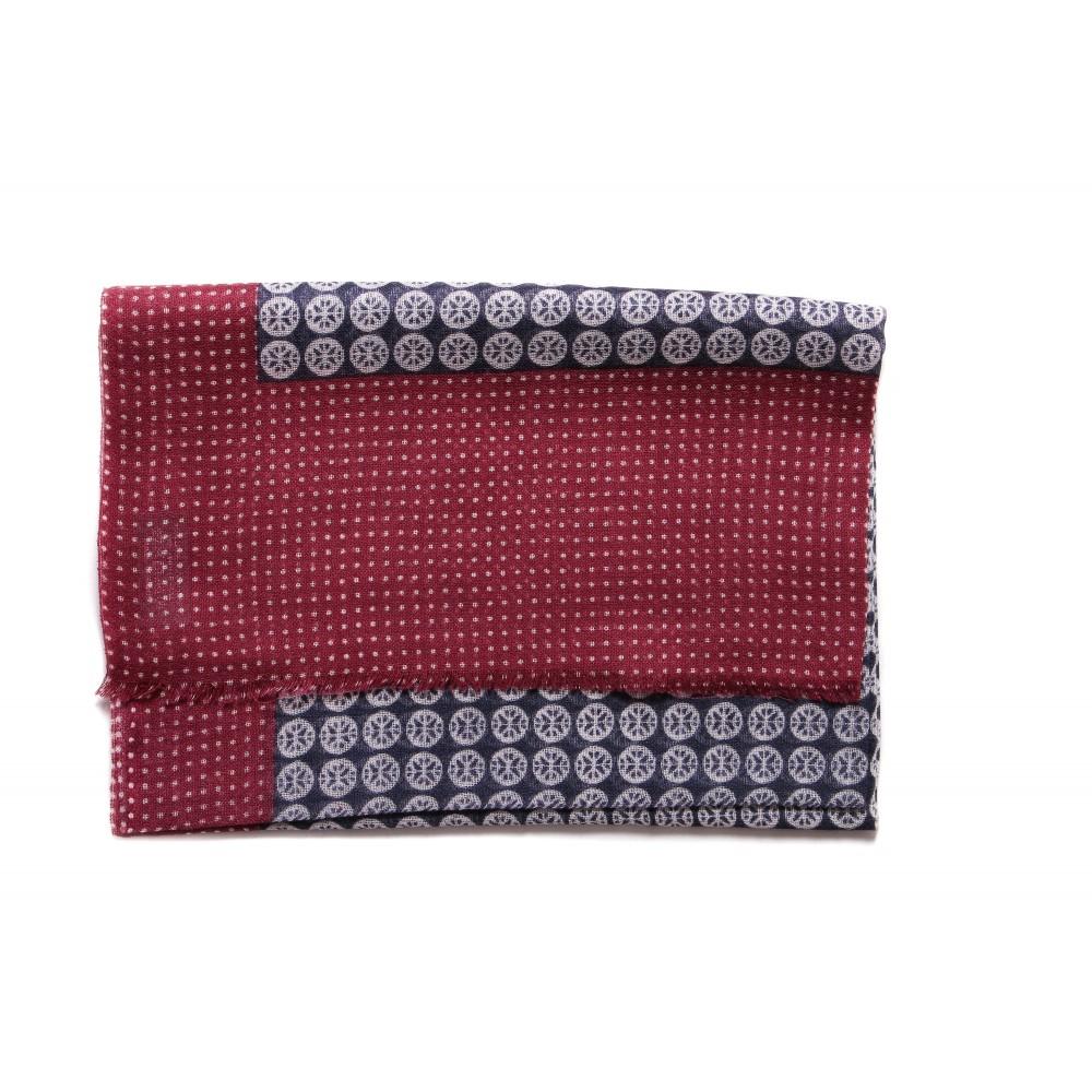 Chèche : Rouge et marine - Pure laine