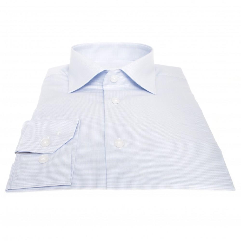 Chemise Lissandro : Bleu et blanc - Col français - 100% Coton