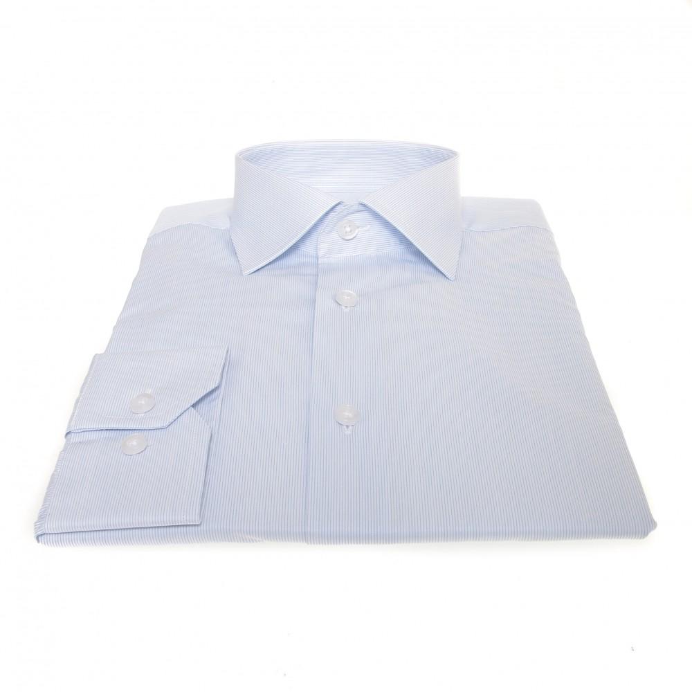 Chemise Lissandro : Rayures blanches et bleues -  Col français - 100% Coton