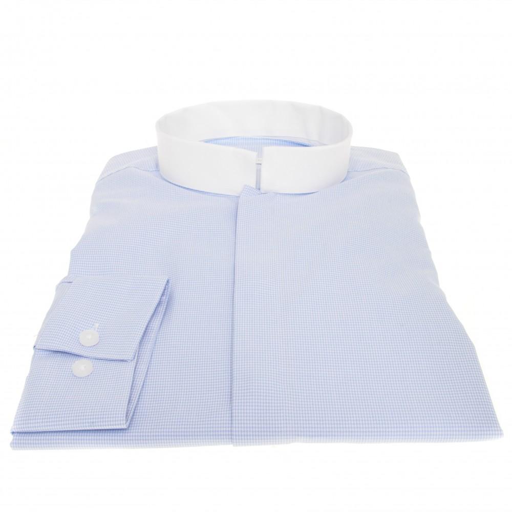 Chemise Lissandro : Bleu et blanc - Col Inversé - 100% Coton