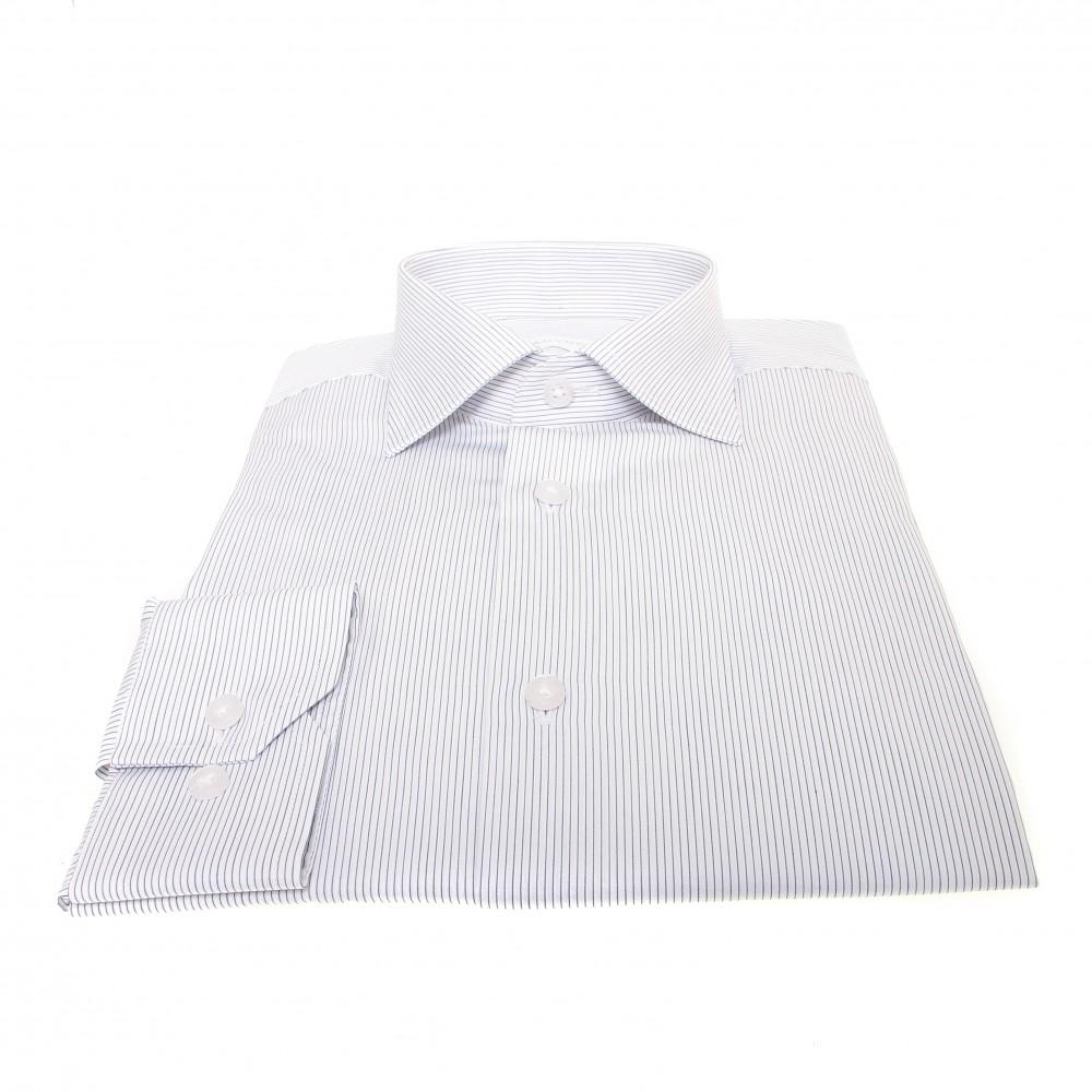Chemise Downing : Base blanche à fines rayures marine - Col français - 100%Coton