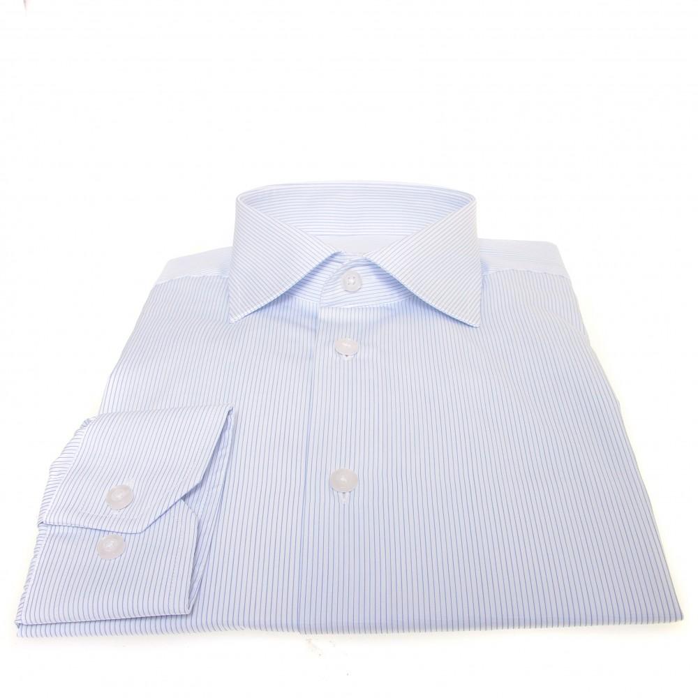 Chemise Downing : Base blanche à fines rayures bleues - Col français - 100%Coton