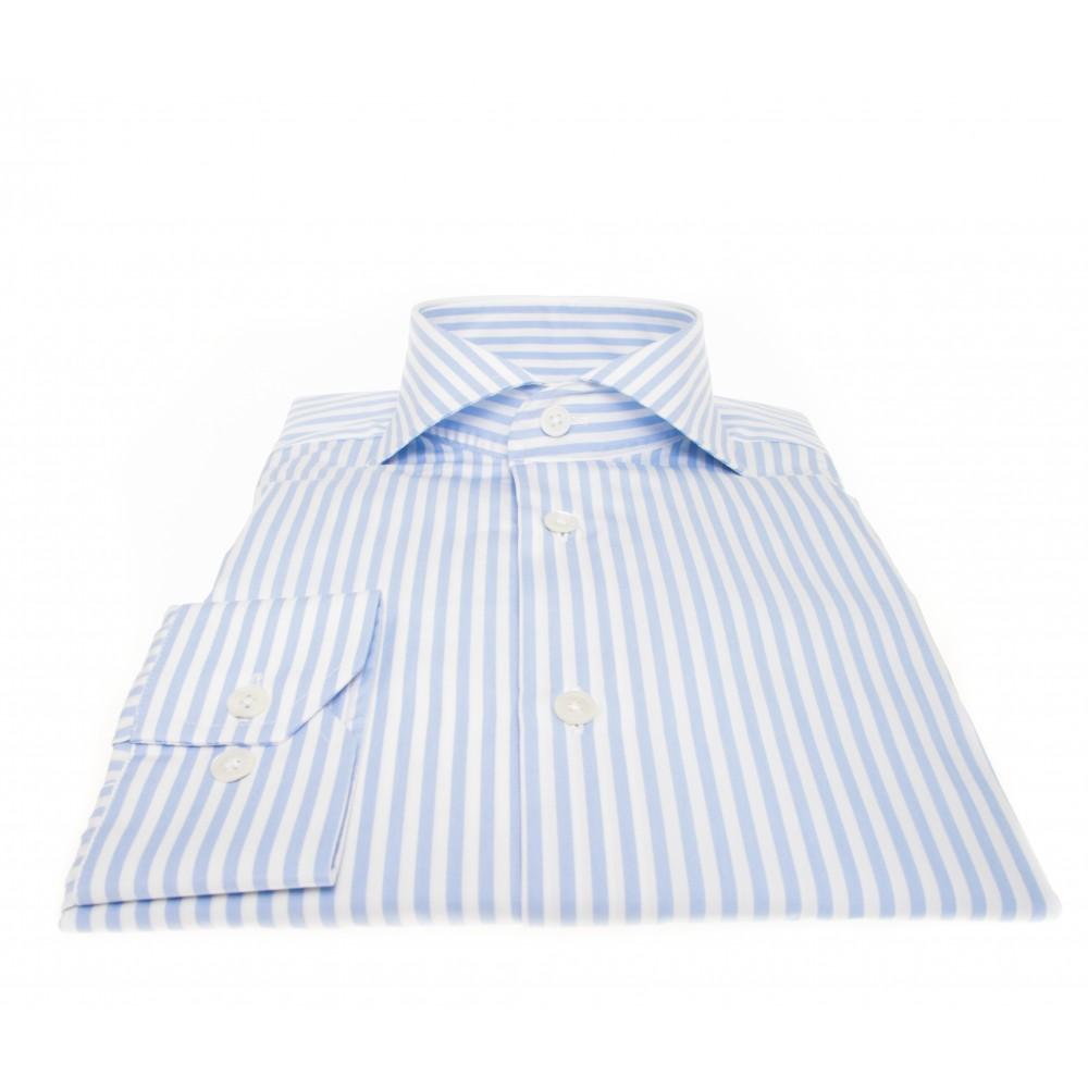 Chemise Downing : rayures blanches et bleu ciel - Col Italien - 100% Coton et boutons nacre