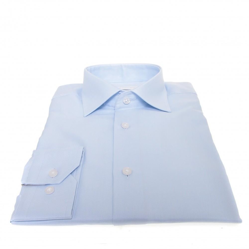 Chemise Lissandro : Trame en biais bleu ciel - Col français - 100% Coton