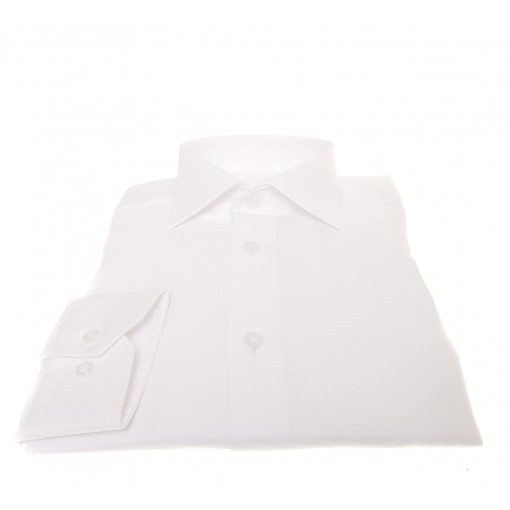 Chemise Lissandro : Trame en biais blanche  - Col français - 100% Coton
