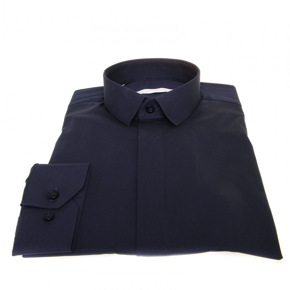 Chemise Roomy : Marine - Micro Col et Cache-boutons