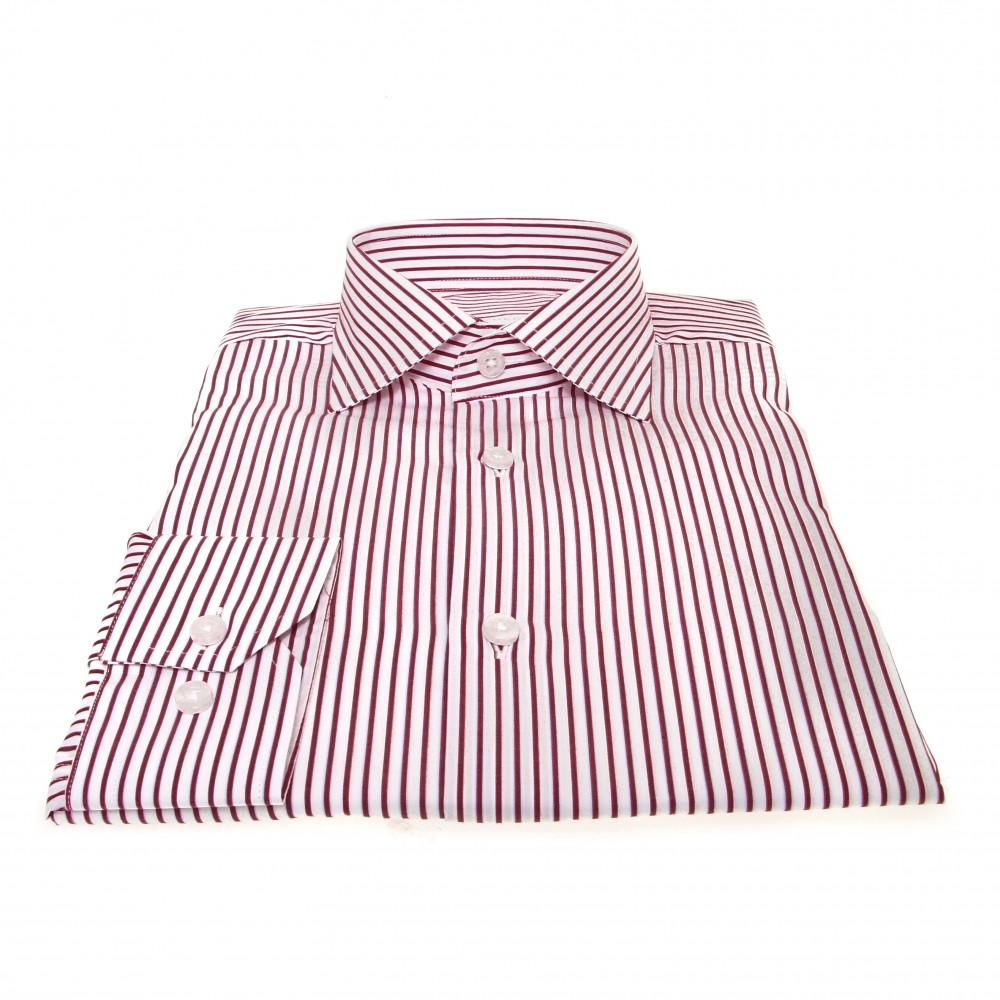 Chemise Lissandro : Base blanche à rayures bordeaux - Col français - 100% Coton