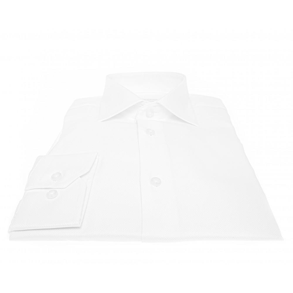 Chemise Lissandro : coton piqué blanc - Col français - 100% Coton