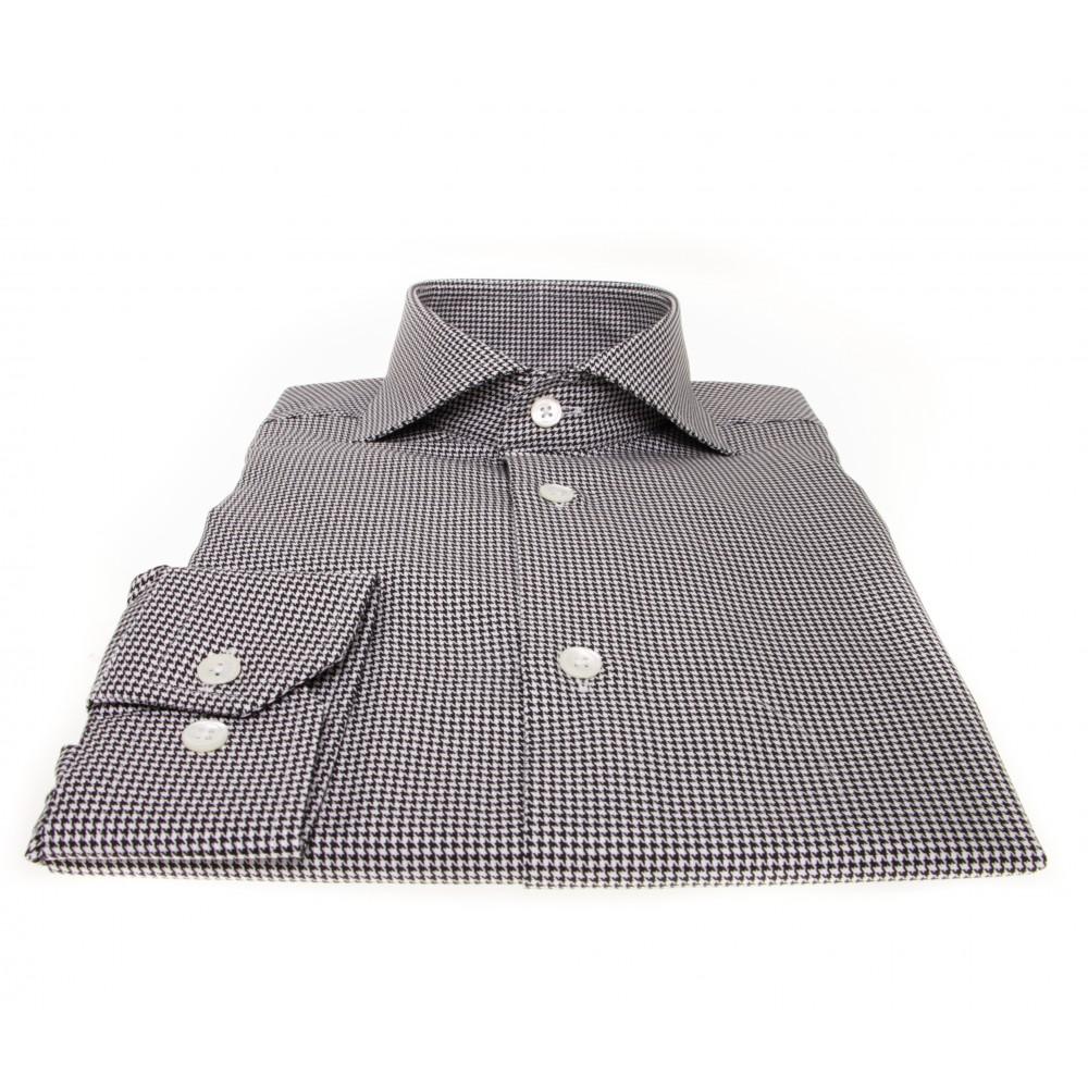 Chemise Lissandro : Pieds de puce noir et blanc - Col italien - 100% Coton et boutons nacre