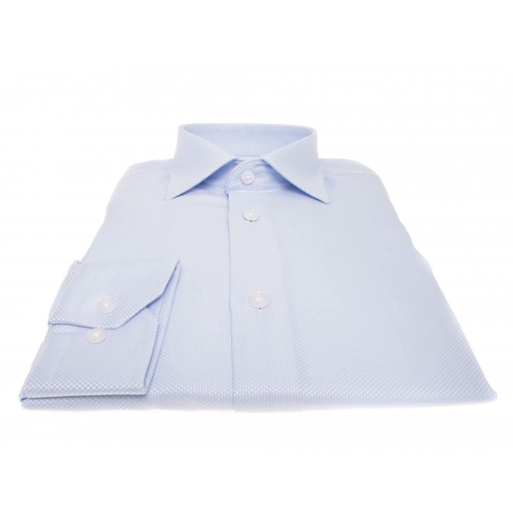 Chemise Lissandro : Grainée bleu ciel - Col français - 100% Coton