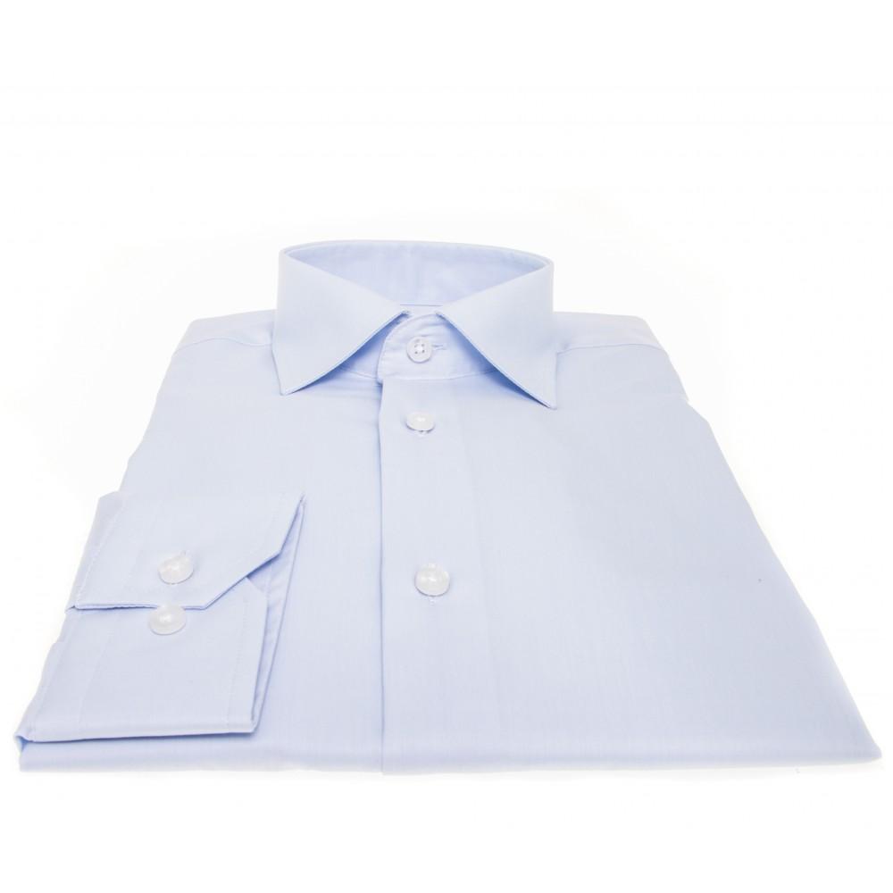 Chemise Perla : Bleu ciel - col français - 100% Coton
