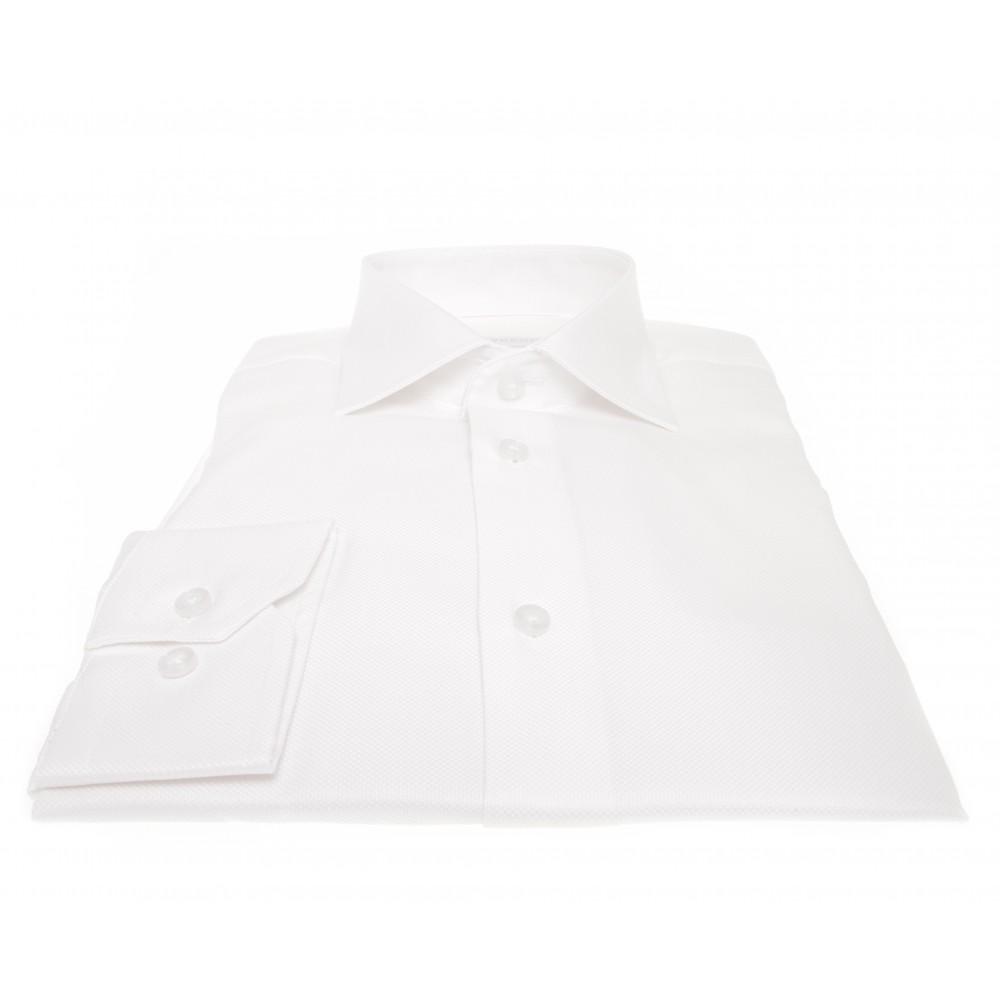 Chemise Prince : Coton piqué blanc - Col français - 100% Coton