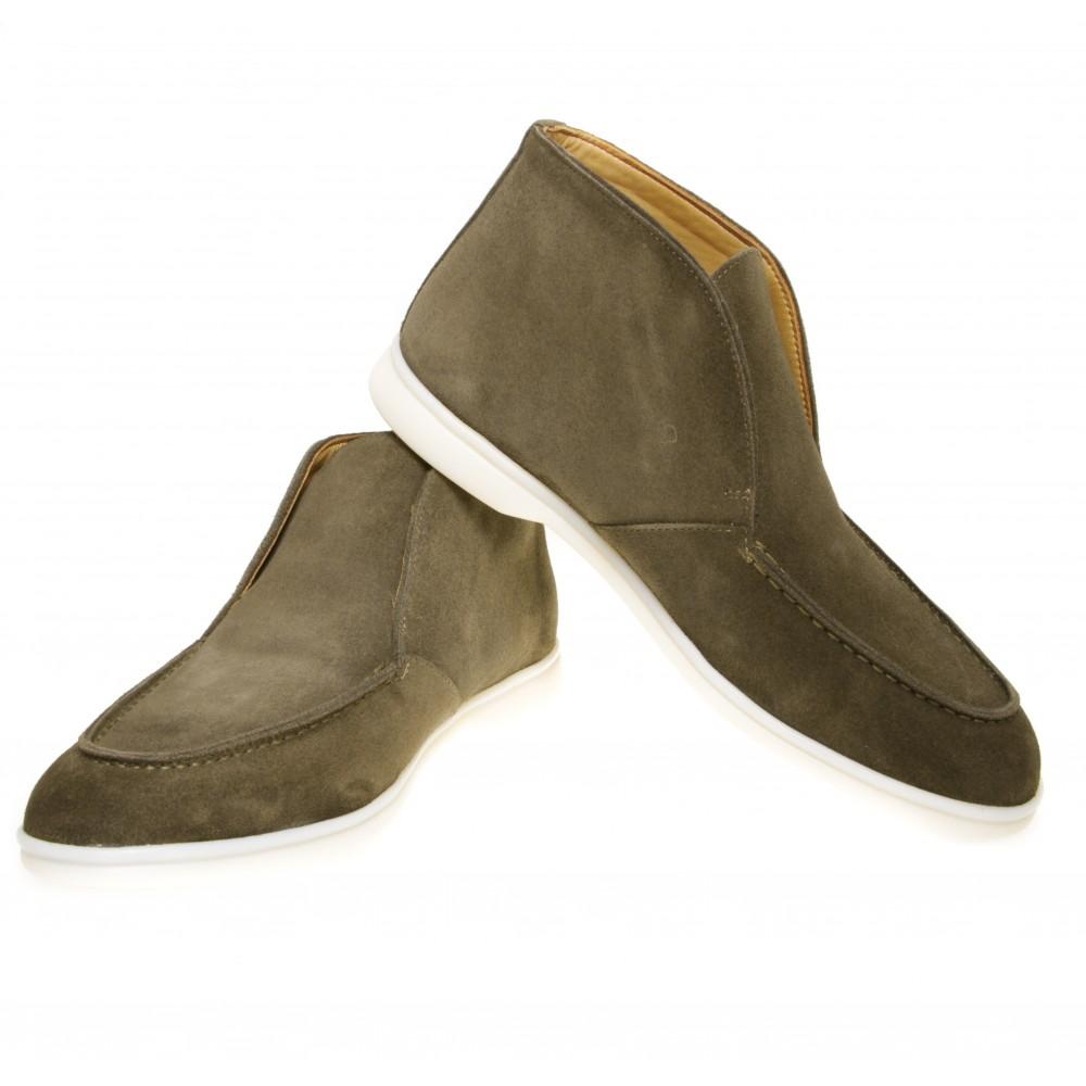 Boots italy : Kaki - veau velours