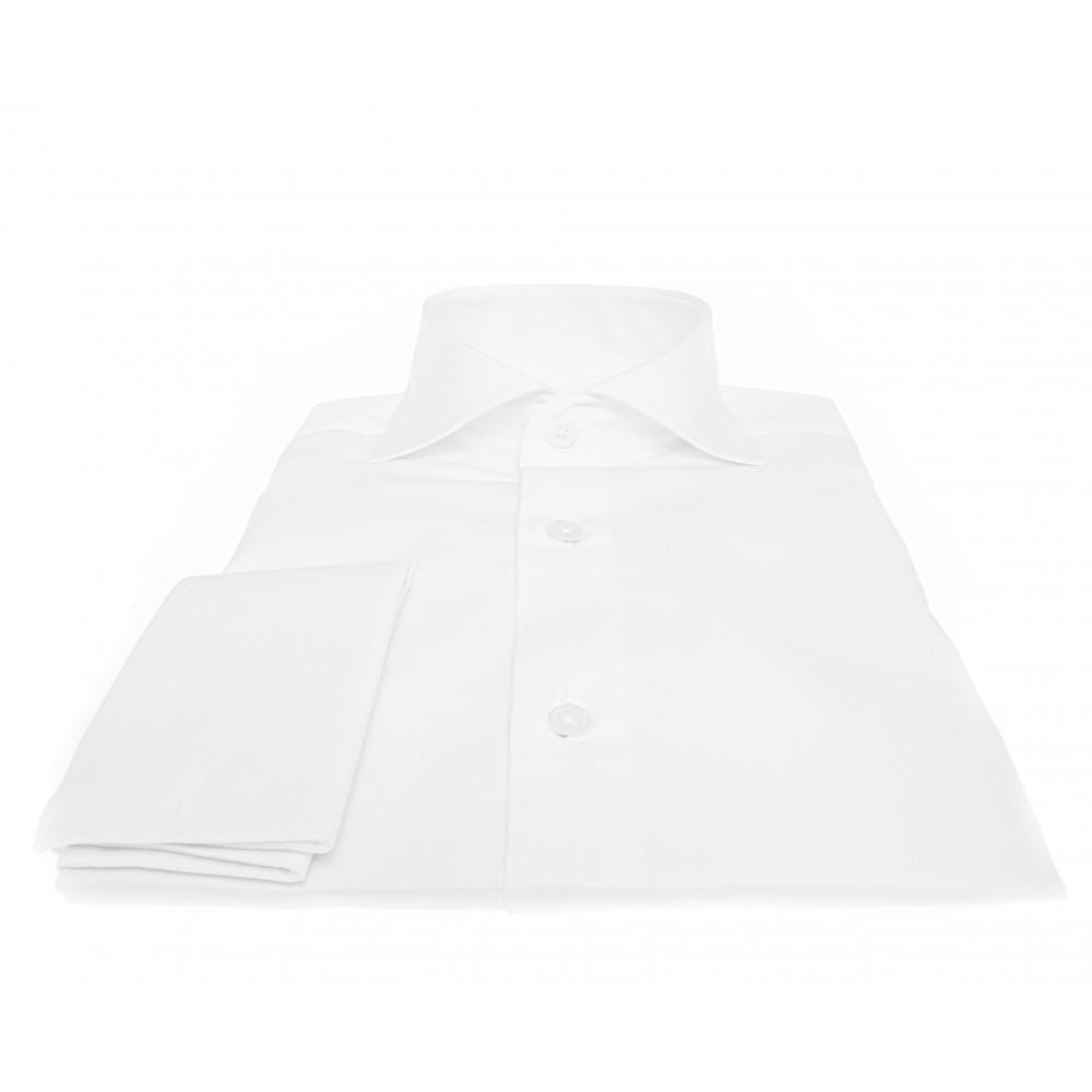 Chemise Lissandro P. Mousquetaire : Blanc - Col Italien - 100% Coton boutons nacre