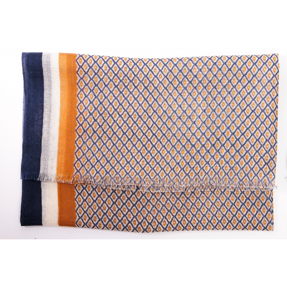 Chèche : Orange bleu et blanc - Pure laine