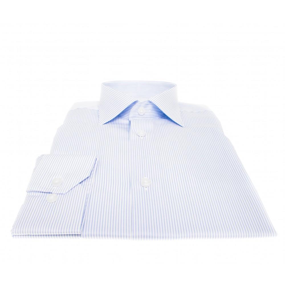 Chemise Lissandro : Rayures bleues et blanches - Col français - 100% Coton
